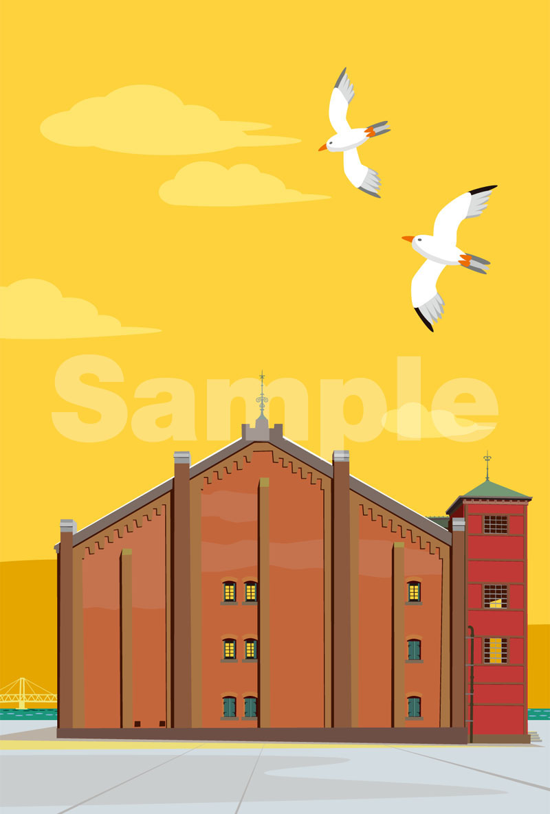 image of 黄色い空の赤レンガ倉庫